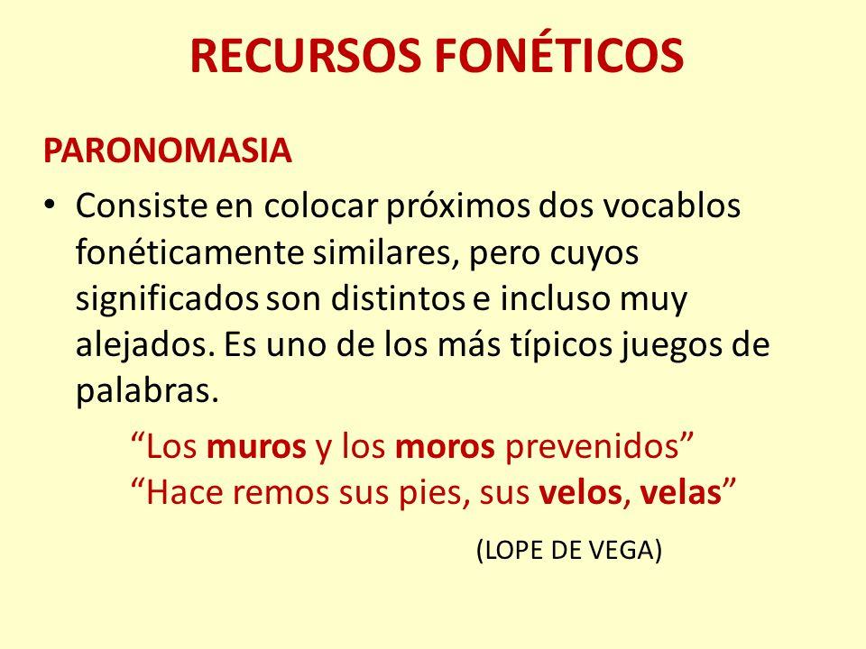 RECURSOS FONÉTICOS PARONOMASIA