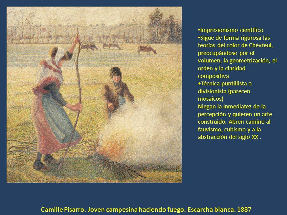 Camille Pisarro. Joven campesina haciendo fuego. Escarcha blanca. 1887