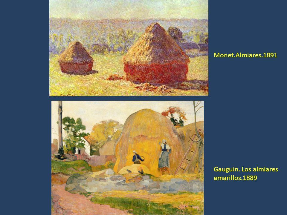 Monet.Almiares.1891 Gauguin. Los almiares amarillos.1889