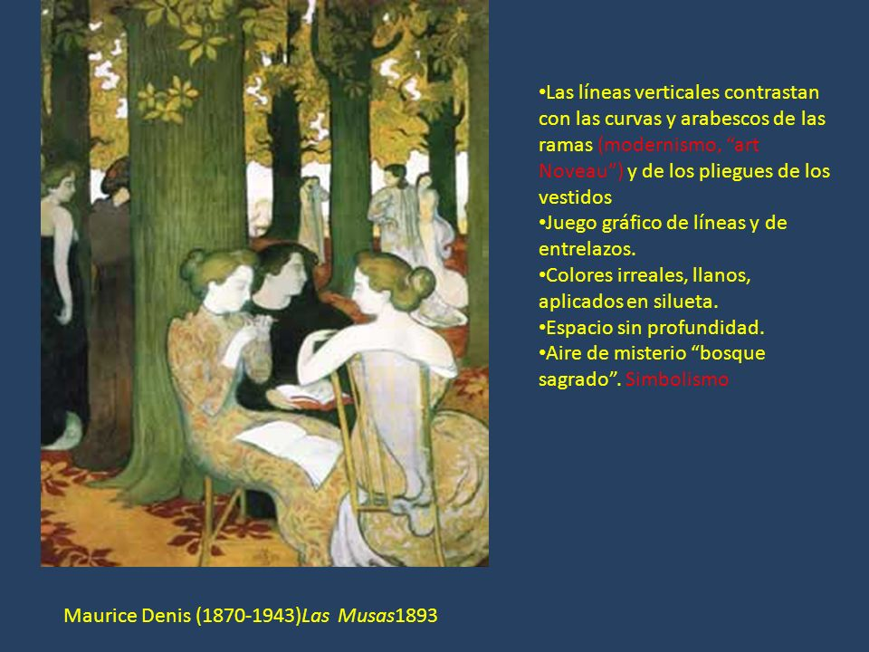 Las líneas verticales contrastan con las curvas y arabescos de las ramas (modernismo, art Noveau ) y de los pliegues de los vestidos