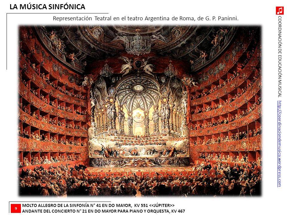 LA MÚSICA SINFÓNICA Representación Teatral en el teatro Argentina de Roma, de G. P. Paninni. 9.