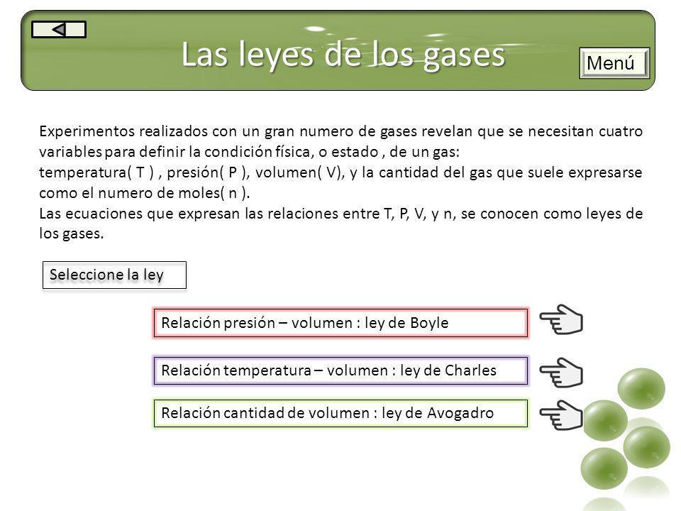 Las leyes de los gases Menú