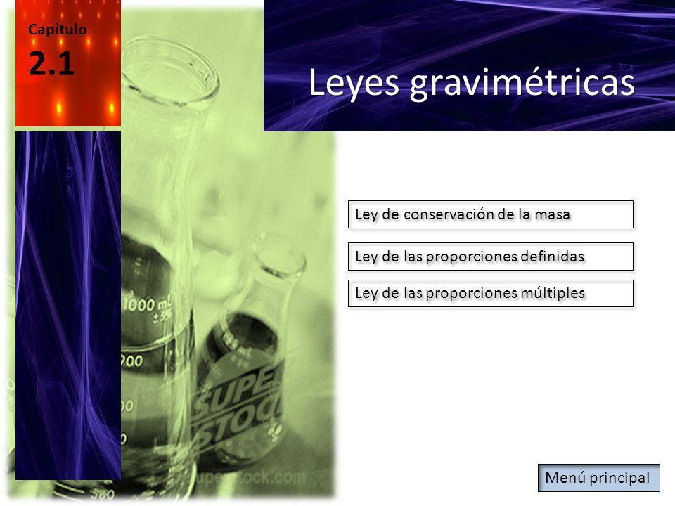 Leyes gravimétricas 2.1 Capitulo Ley de conservación de la masa