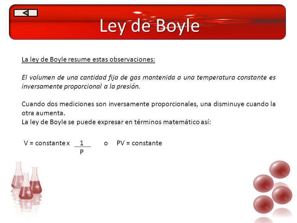 Ley de Boyle La ley de Boyle resume estas observaciones: