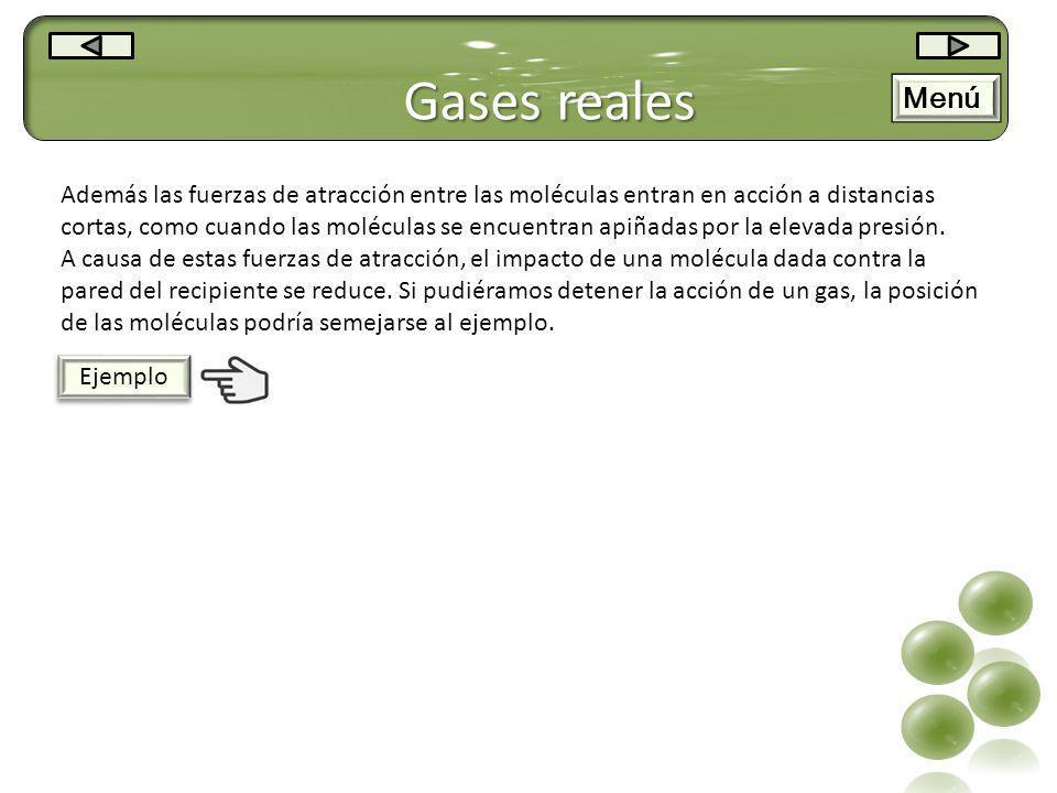 Gases reales Menú.