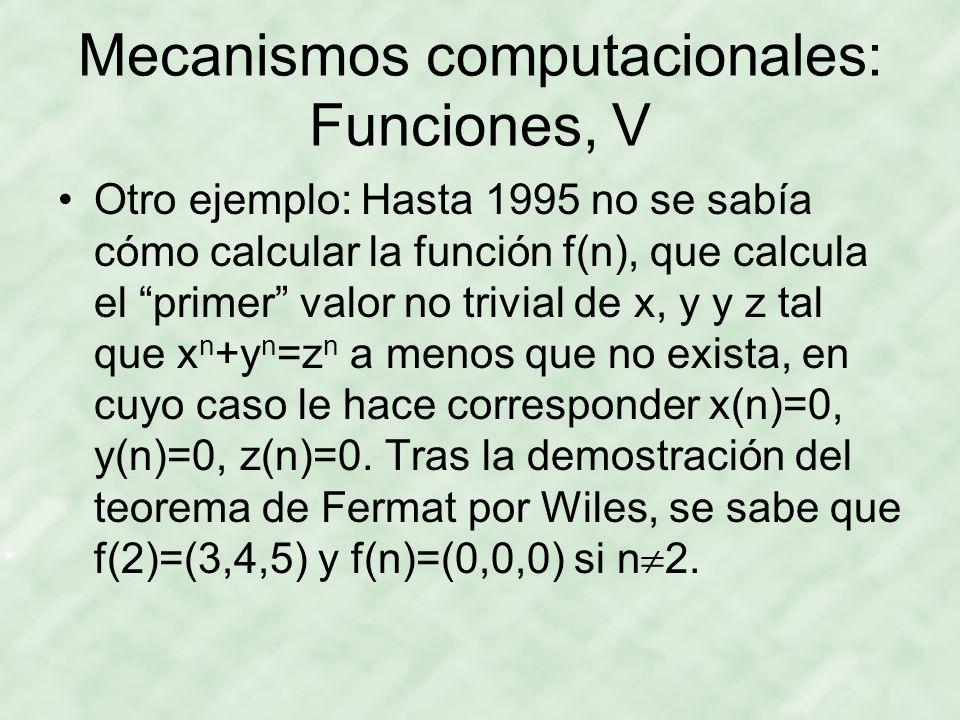Mecanismos computacionales: Funciones, V