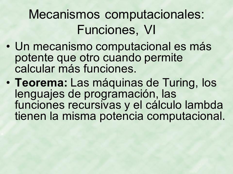 Mecanismos computacionales: Funciones, VI