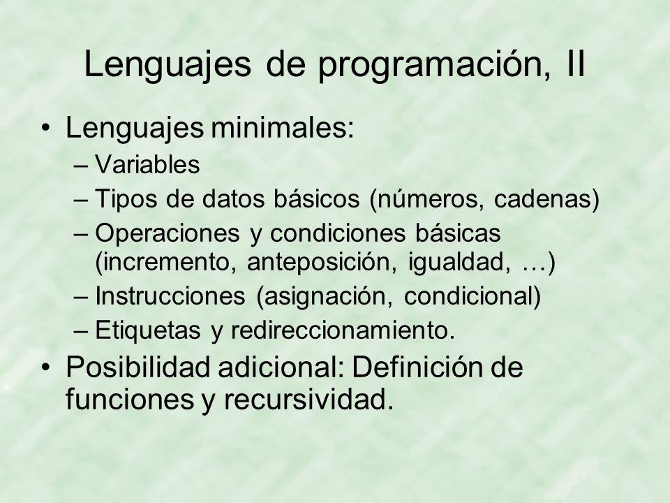 Lenguajes de programación, II
