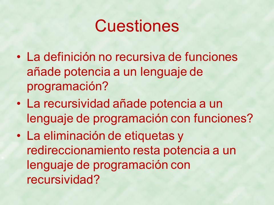 Cuestiones La definición no recursiva de funciones añade potencia a un lenguaje de programación