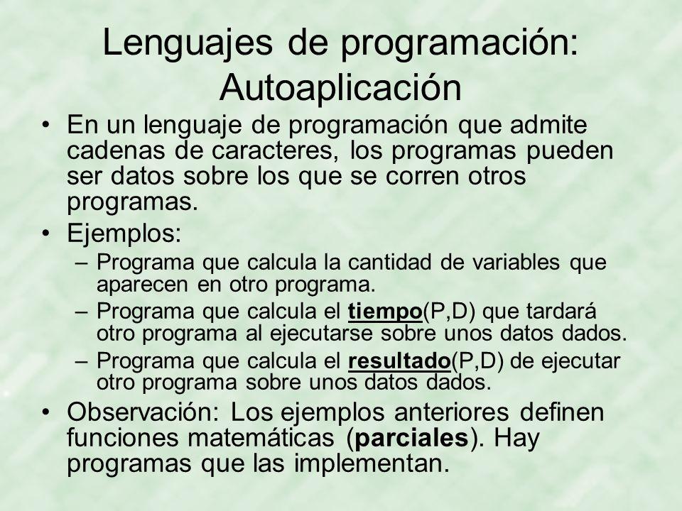 Lenguajes de programación: Autoaplicación