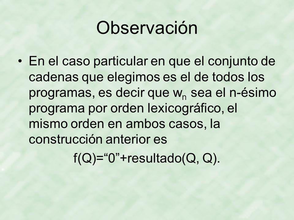 f(Q)= 0 +resultado(Q, Q).