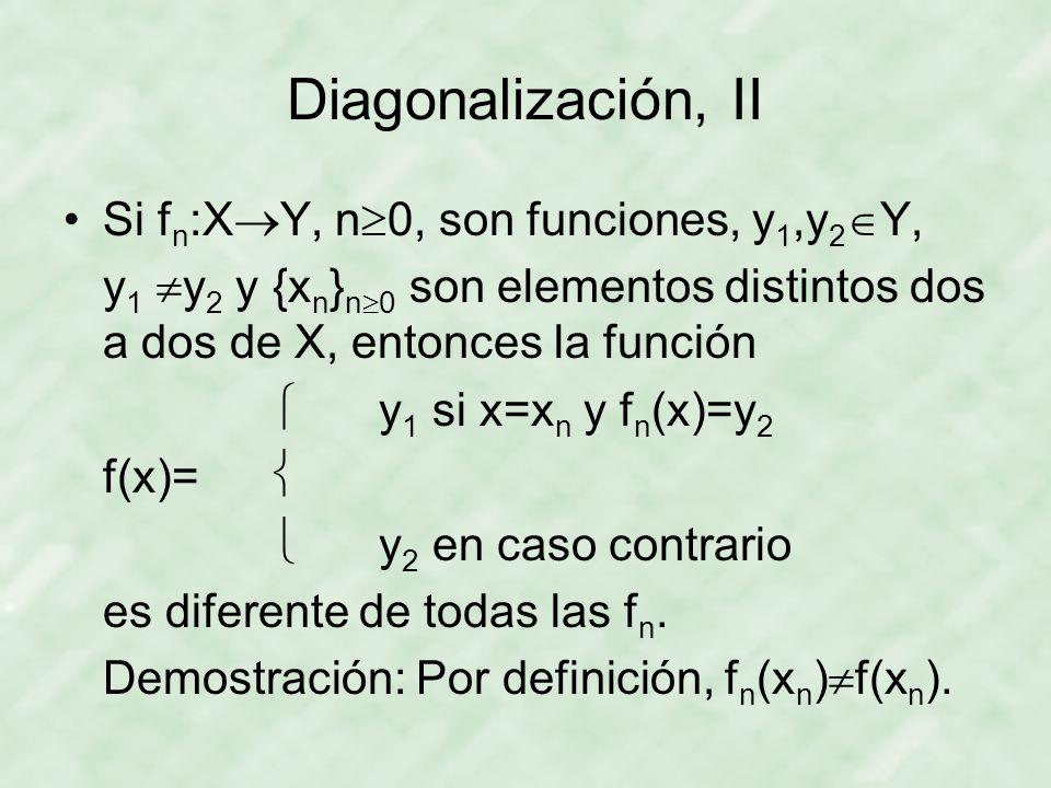 Diagonalización, II Si fn:XY, n0, son funciones, y1,y2Y,