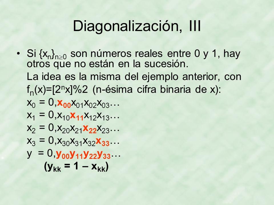 Diagonalización, III Si {xn}n0 son números reales entre 0 y 1, hay otros que no están en la sucesión.