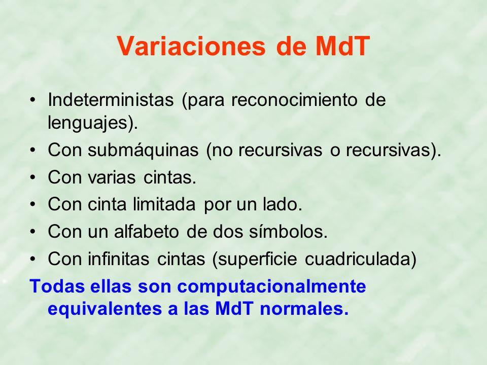 Variaciones de MdT Indeterministas (para reconocimiento de lenguajes).