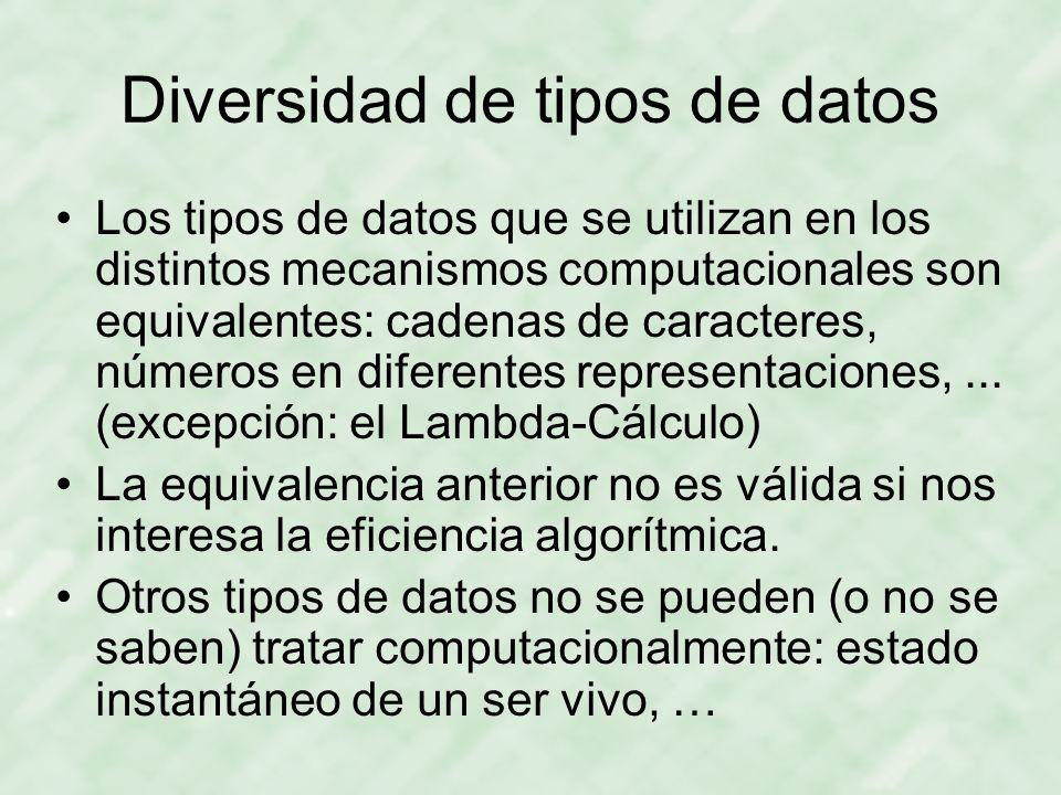 Diversidad de tipos de datos