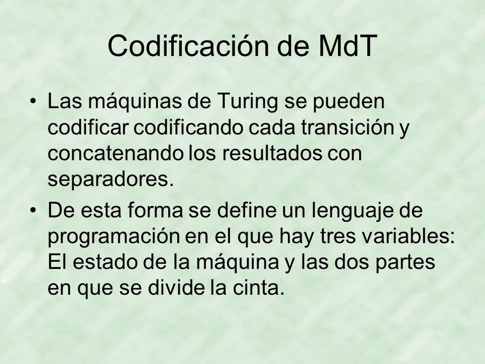 Codificación de MdT Las máquinas de Turing se pueden codificar codificando cada transición y concatenando los resultados con separadores.