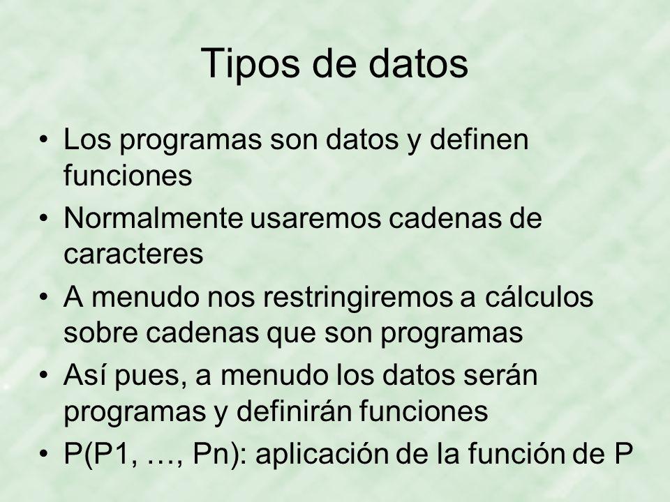 Tipos de datos Los programas son datos y definen funciones