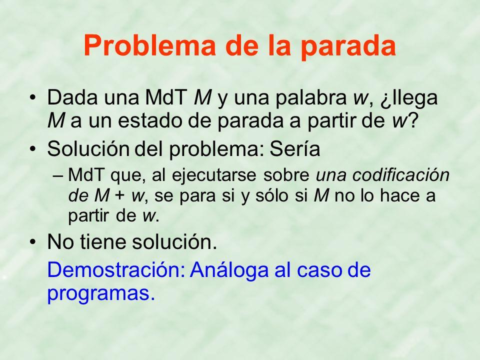 Problema de la parada Dada una MdT M y una palabra w, ¿llega M a un estado de parada a partir de w
