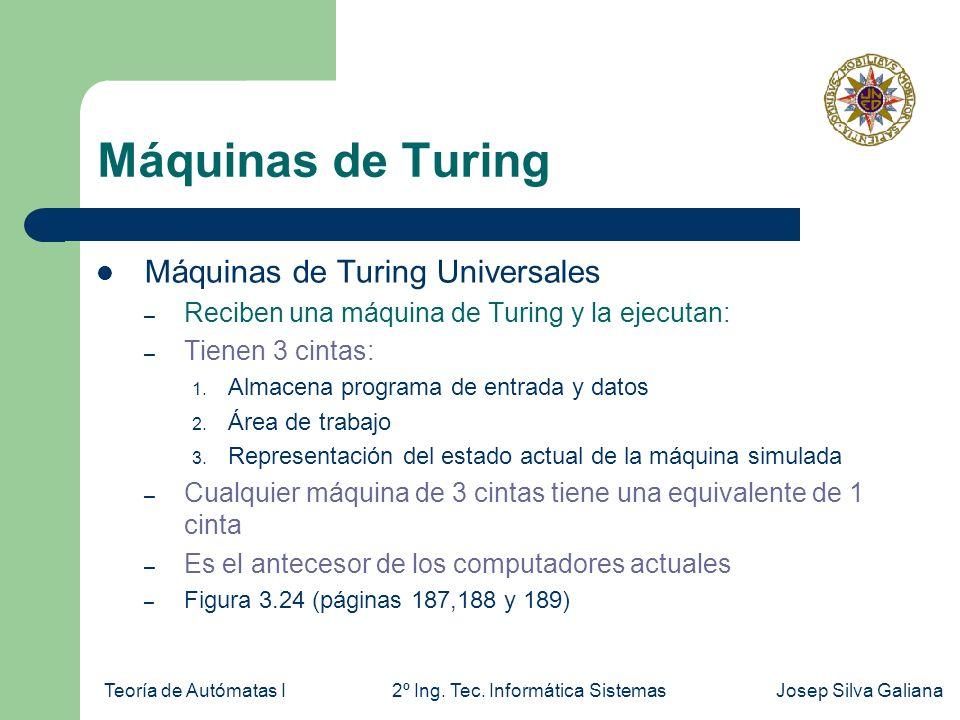Máquinas de Turing Máquinas de Turing Universales
