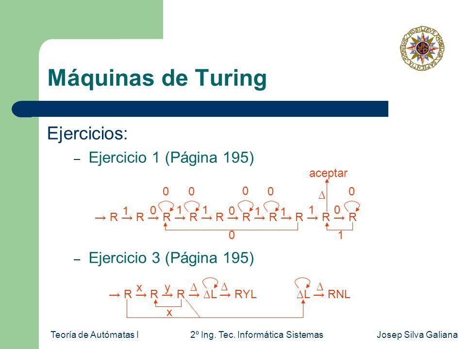 Máquinas de Turing Ejercicios: Ejercicio 1 (Página 195)