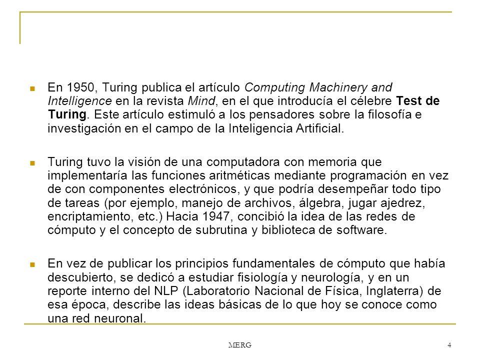 En 1950, Turing publica el artículo Computing Machinery and Intelligence en la revista Mind, en el que introducía el célebre Test de Turing. Este artículo estimuló a los pensadores sobre la filosofía e investigación en el campo de la Inteligencia Artificial.
