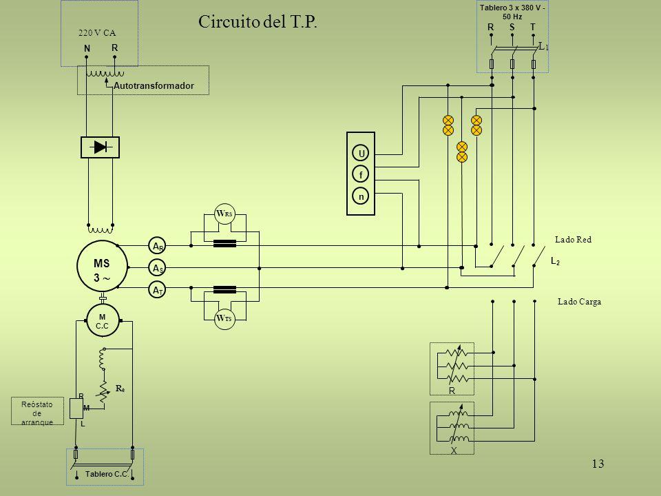 Circuito del T.P. L1 MS 3  R N Autotransformador 220 V CA L2 R S T