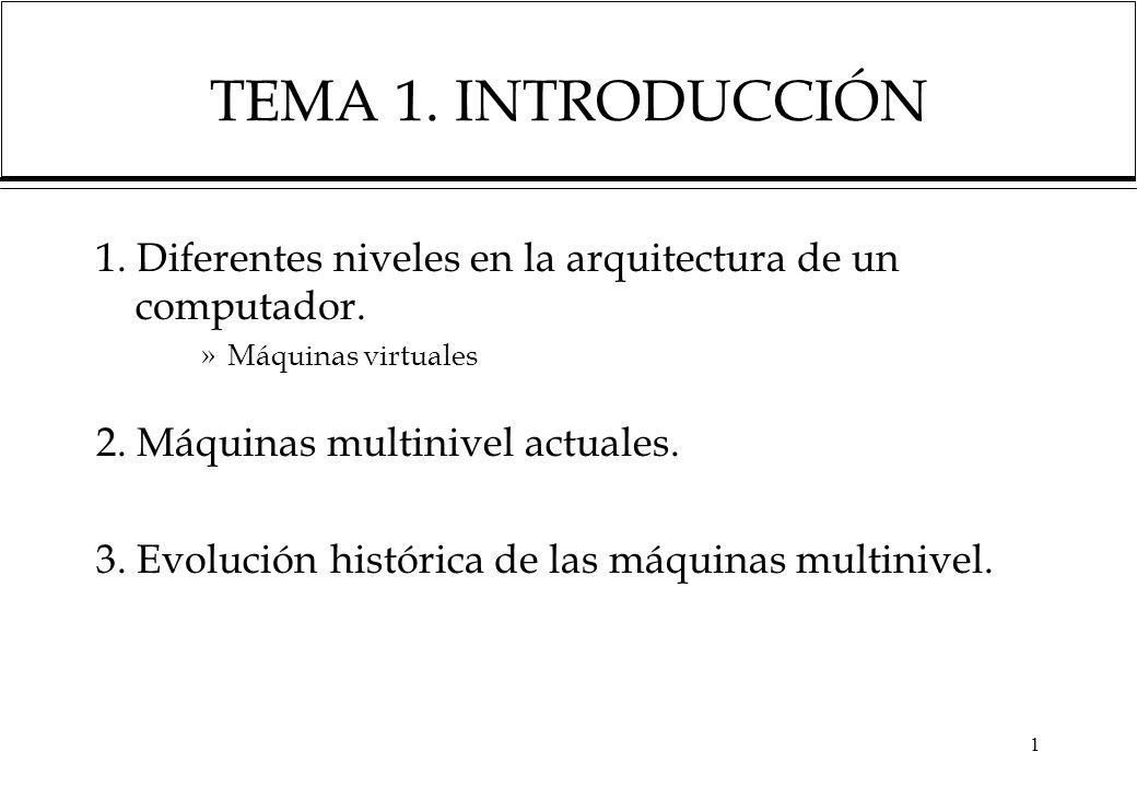 TEMA 1. INTRODUCCIÓN 1. Diferentes niveles en la arquitectura de un computador. Máquinas virtuales.