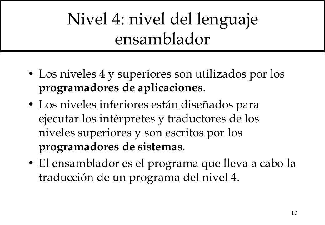 Nivel 4: nivel del lenguaje ensamblador