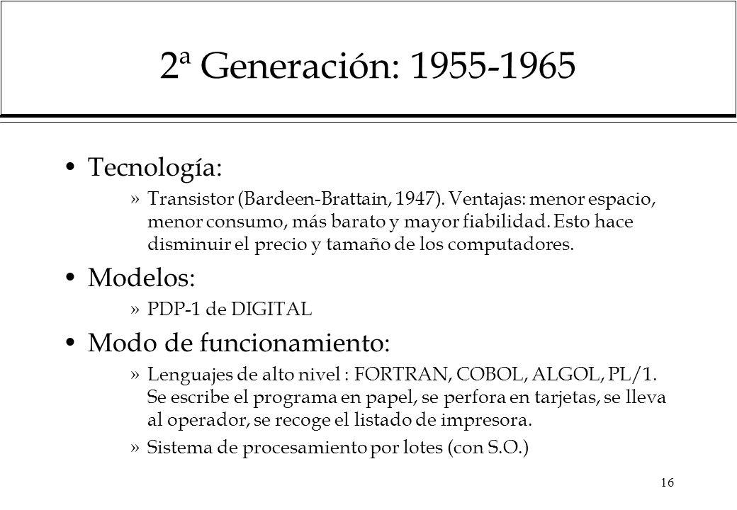 2ª Generación: 1955-1965 Tecnología: Modelos: Modo de funcionamiento: