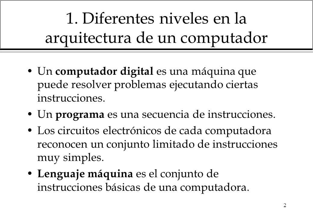 1. Diferentes niveles en la arquitectura de un computador