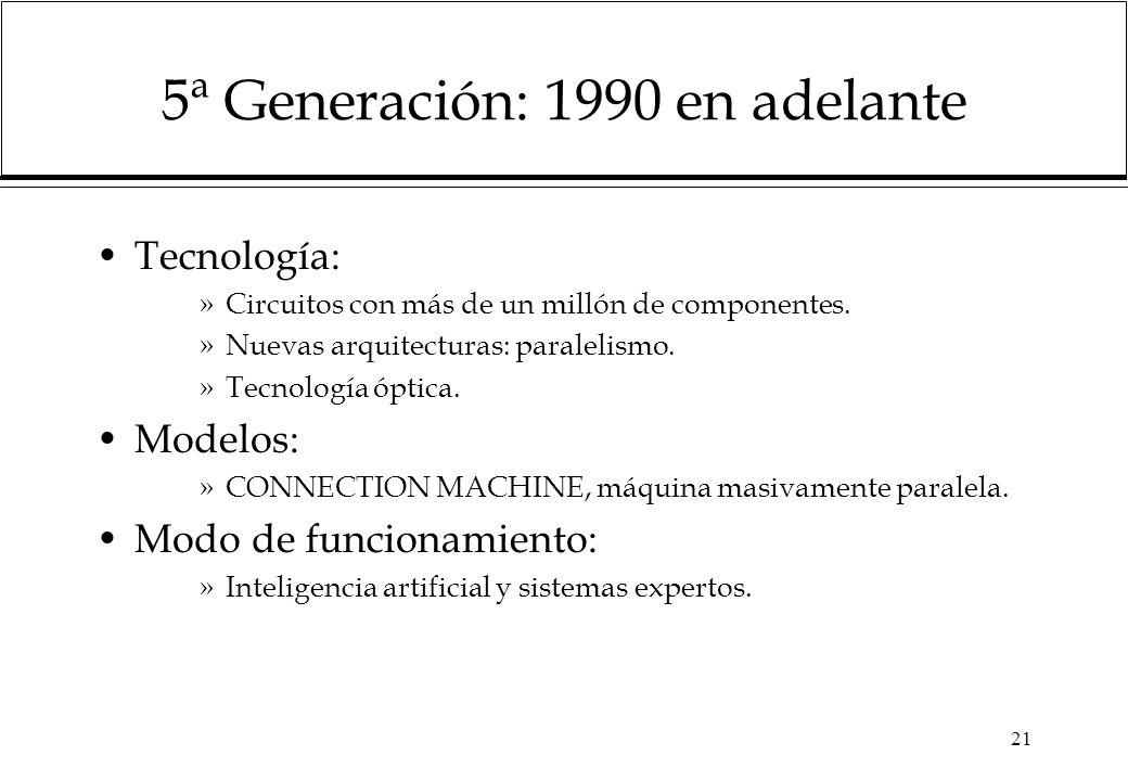 5ª Generación: 1990 en adelante