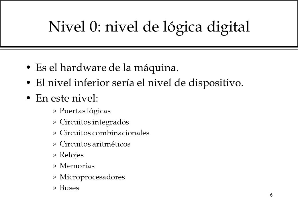 Nivel 0: nivel de lógica digital