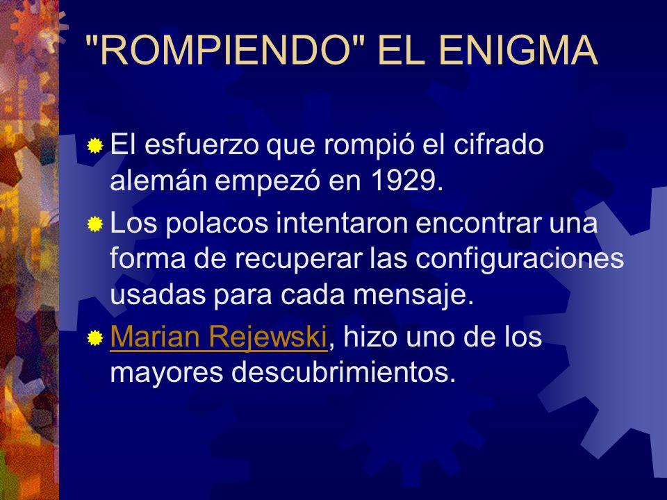 ROMPIENDO EL ENIGMA El esfuerzo que rompió el cifrado alemán empezó en 1929.