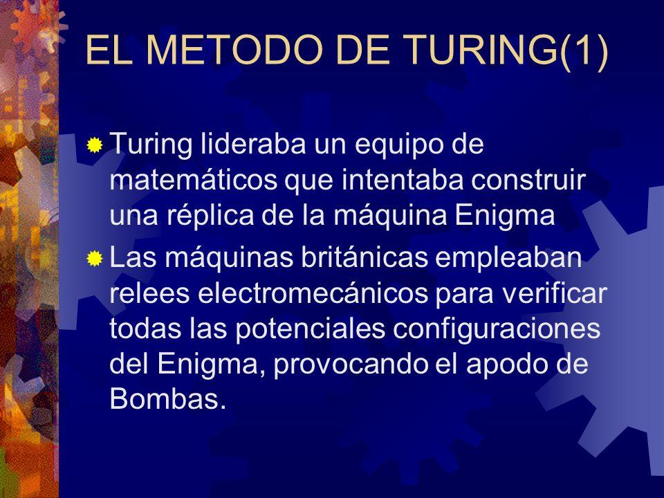 EL METODO DE TURING(1) Turing lideraba un equipo de matemáticos que intentaba construir una réplica de la máquina Enigma.
