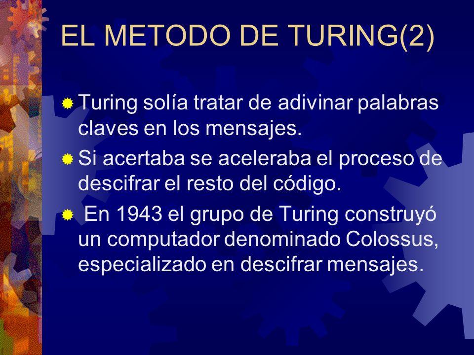 EL METODO DE TURING(2) Turing solía tratar de adivinar palabras claves en los mensajes.
