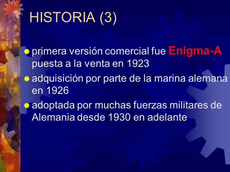 HISTORIA (3) primera versión comercial fue Enigma-A puesta a la venta en 1923. adquisición por parte de la marina alemana en 1926.