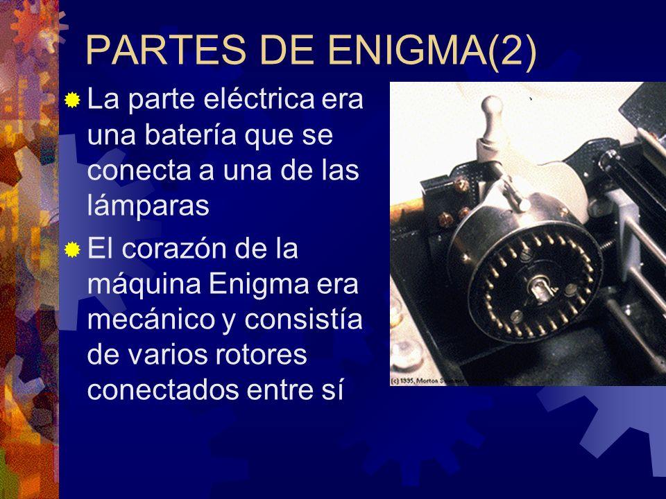 PARTES DE ENIGMA(2) La parte eléctrica era una batería que se conecta a una de las lámparas.