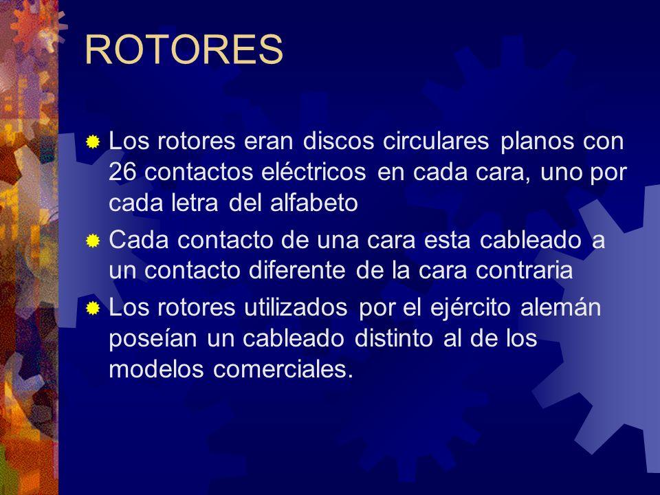 ROTORES Los rotores eran discos circulares planos con 26 contactos eléctricos en cada cara, uno por cada letra del alfabeto.