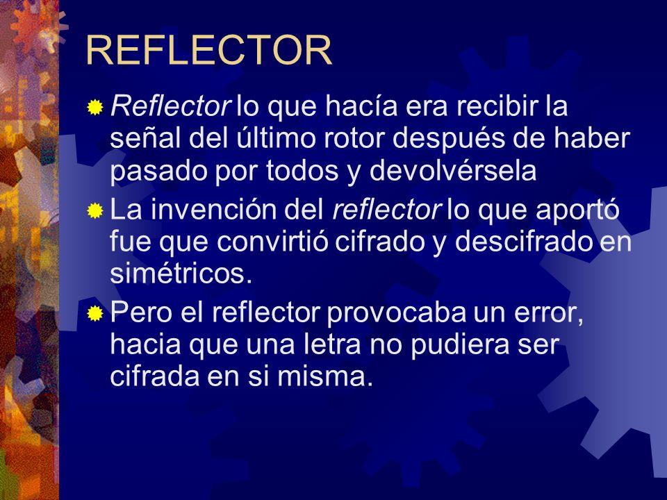 REFLECTOR Reflector lo que hacía era recibir la señal del último rotor después de haber pasado por todos y devolvérsela.
