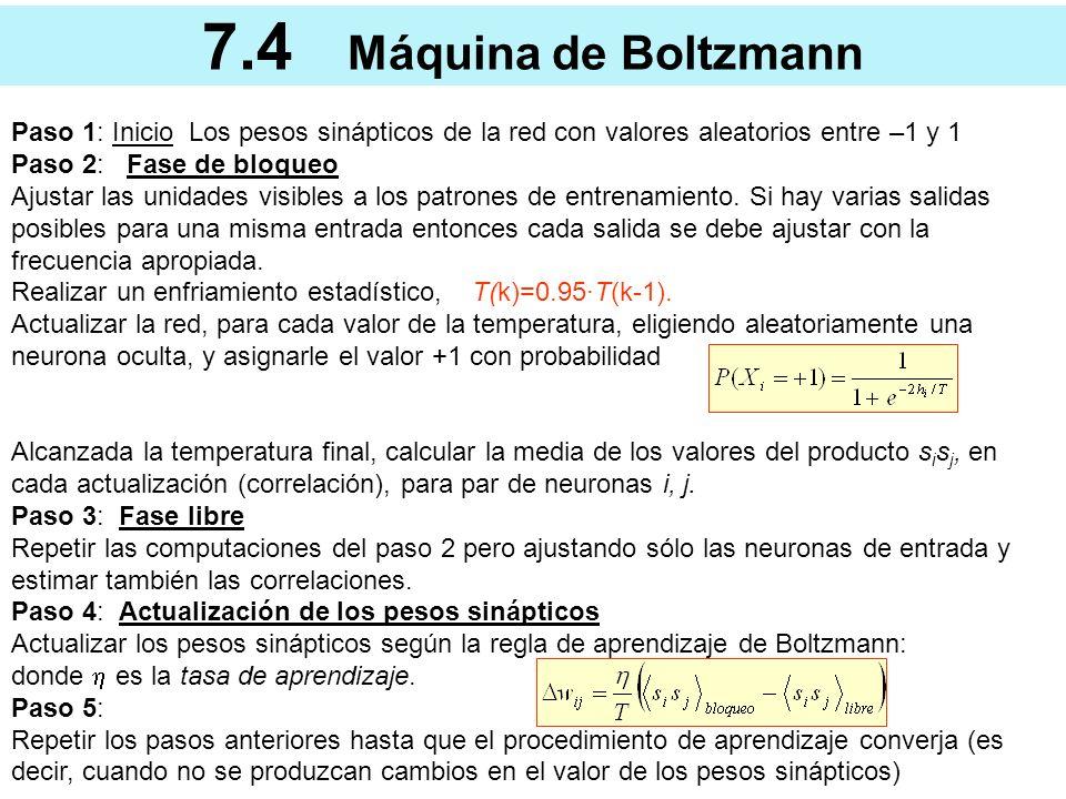 7.4 Máquina de Boltzmann Paso 1: Inicio Los pesos sinápticos de la red con valores aleatorios entre –1 y 1.