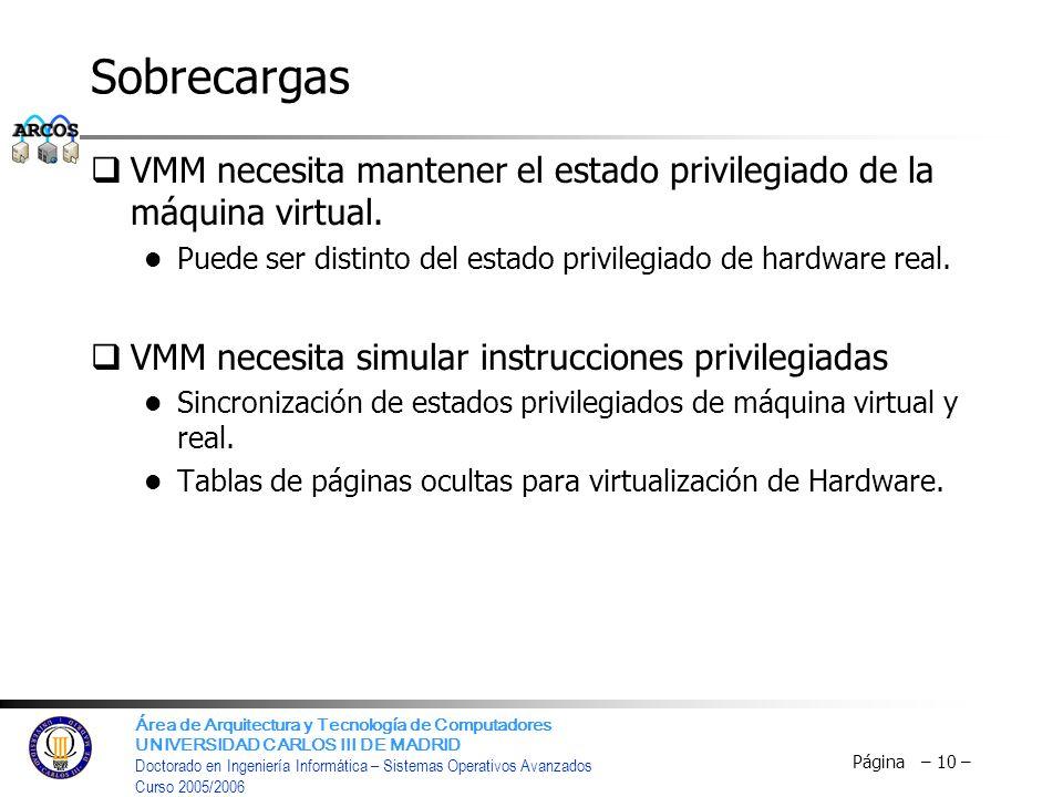 Sobrecargas VMM necesita mantener el estado privilegiado de la máquina virtual. Puede ser distinto del estado privilegiado de hardware real.