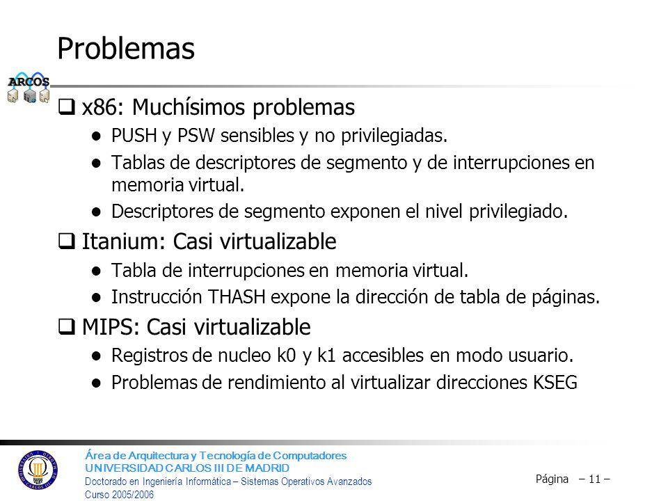 Problemas x86: Muchísimos problemas Itanium: Casi virtualizable