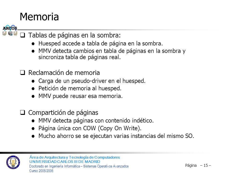 Memoria Tablas de páginas en la sombra: Reclamación de memoria