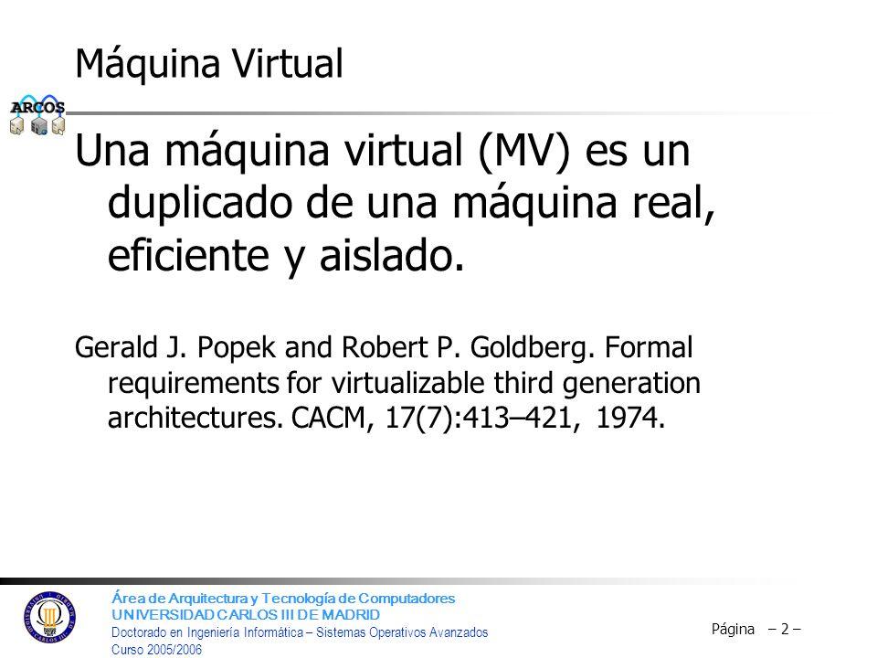 Máquina Virtual Una máquina virtual (MV) es un duplicado de una máquina real, eficiente y aislado.