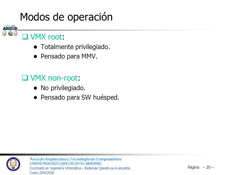 Modos de operación VMX root: VMX non-root: Totalmente privilegiado.