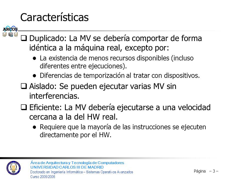 Características Duplicado: La MV se debería comportar de forma idéntica a la máquina real, excepto por: