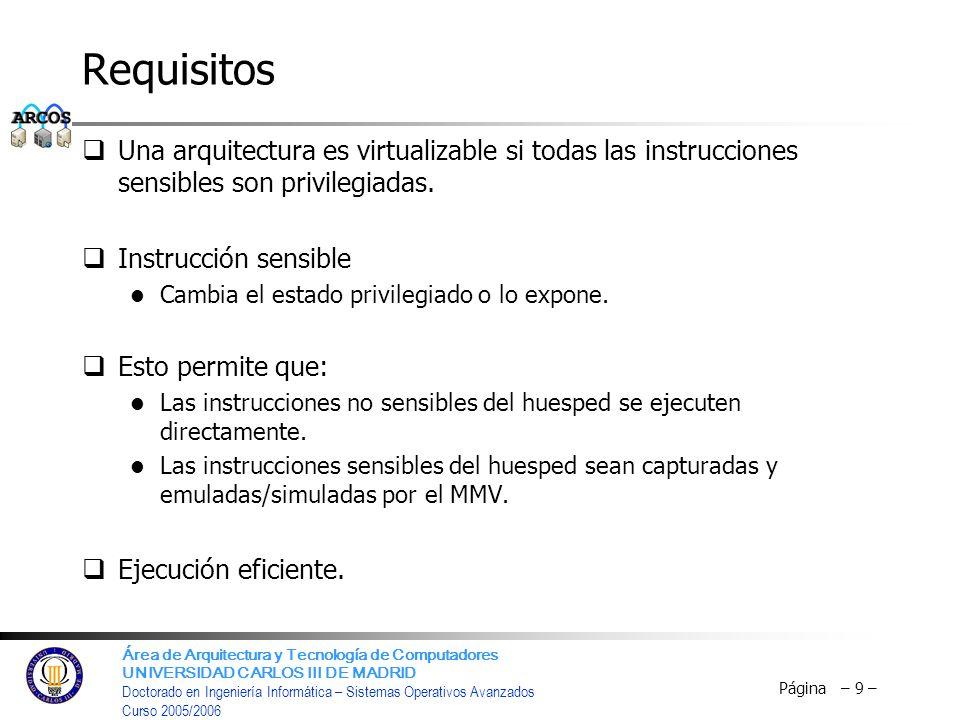 Requisitos Una arquitectura es virtualizable si todas las instrucciones sensibles son privilegiadas.