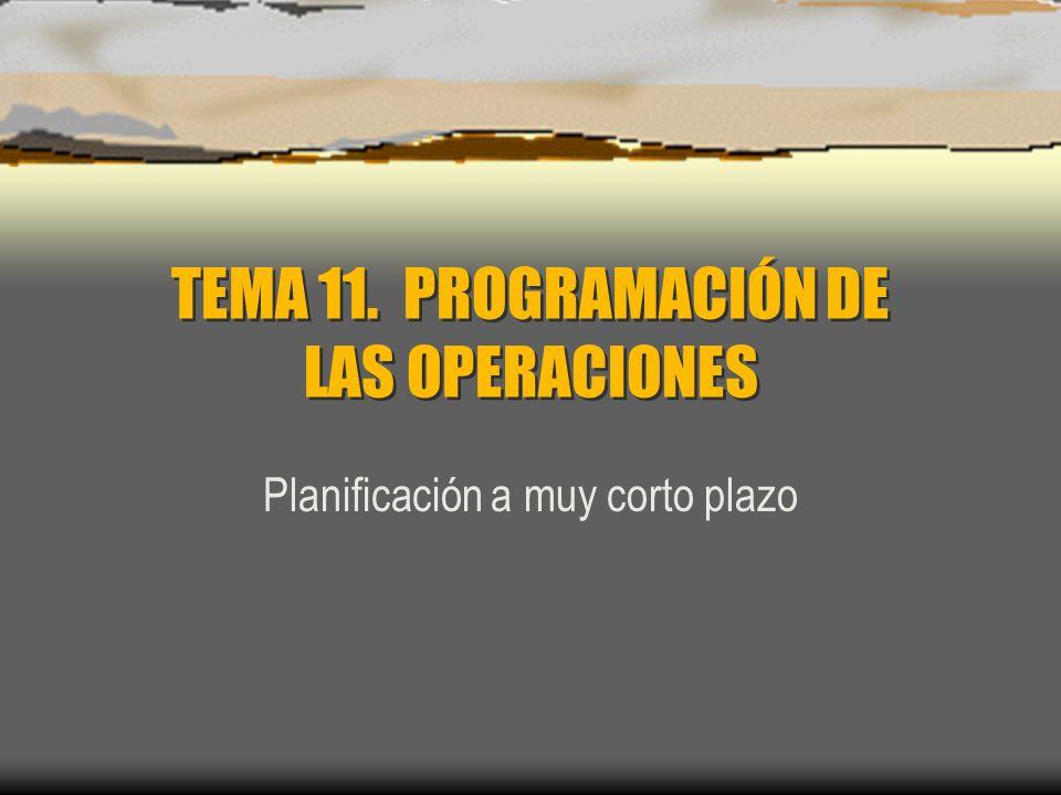 TEMA 11. PROGRAMACIÓN DE LAS OPERACIONES