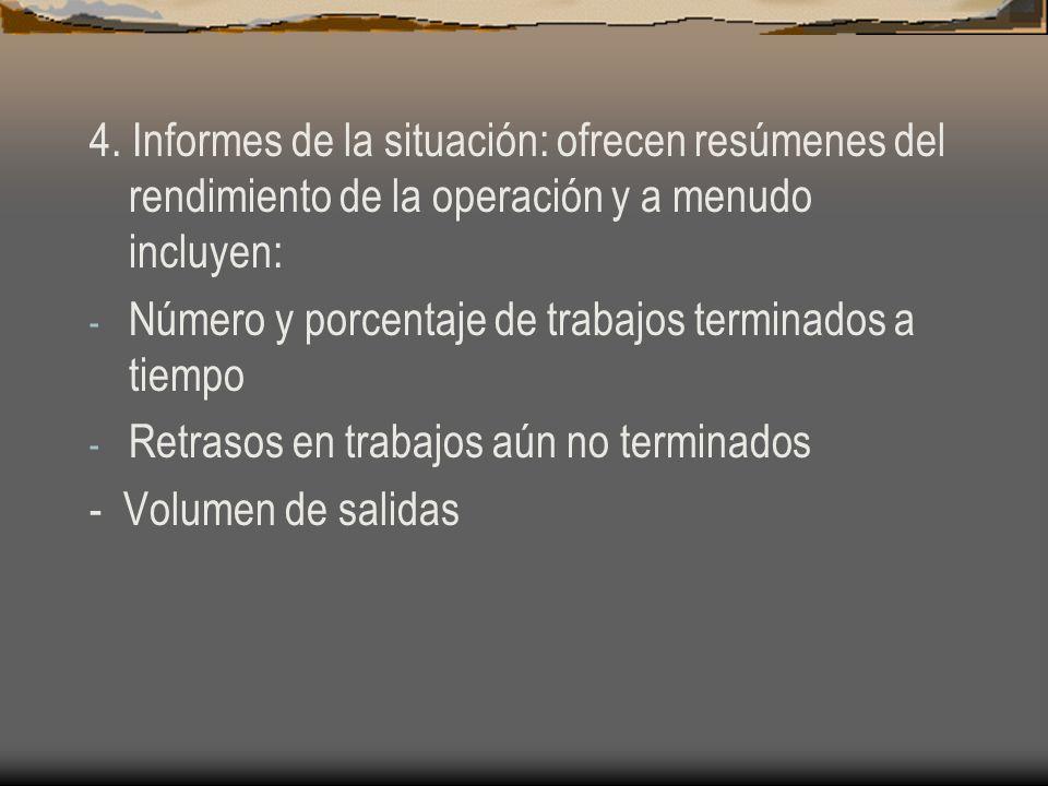 4. Informes de la situación: ofrecen resúmenes del rendimiento de la operación y a menudo incluyen: