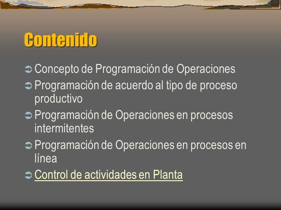 Contenido Concepto de Programación de Operaciones